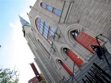 The Holy Name of Jesus Roman Catholic Church stands at 96th Street and Amsterdam Avenue, New York City.