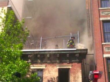 A second-alarm fire broke out at 201 East 120th Street on April 27, 2012.