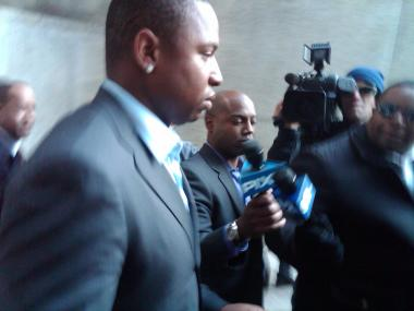 Delmon Young outside of the courthouse April 27, 2012.