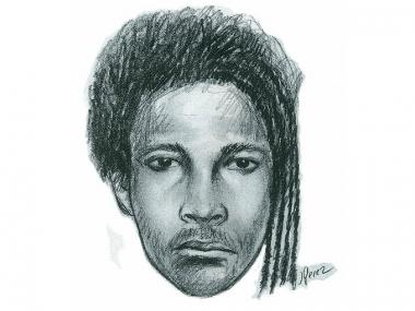 Sketch of man who broke the nose of a conductor on the 1 Train in Inwood on April 21, 2012.
