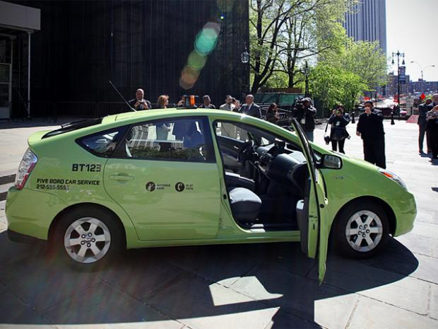 New York City Mayor Michael Bloomberg and Taxi Commissioner Yassky unveil new Apple Green Boro Taxis on Apr. 29th, 2012.
