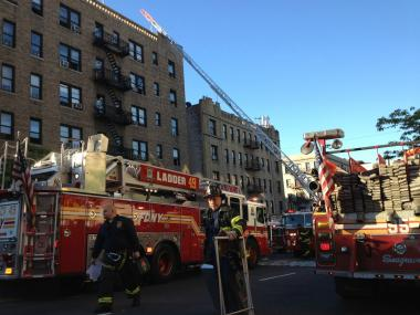 A fire broke out inside 1552 St. Nicholas Ave., near West 188th Street, on Mon., April 30, 2012.