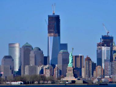 One World Trade Center is set to rise above the Empire State Building April 30, 2012.