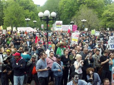 Occupy Wall Street protesters filled up Union Square Park Tuesday afternoon.