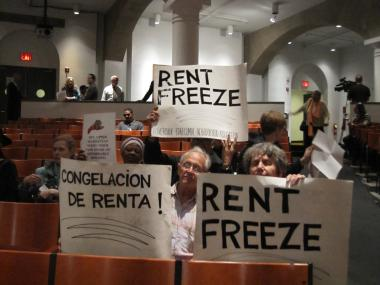 Protesters hissed at and booed members of the board, who rejected calls for a rent freeze.
