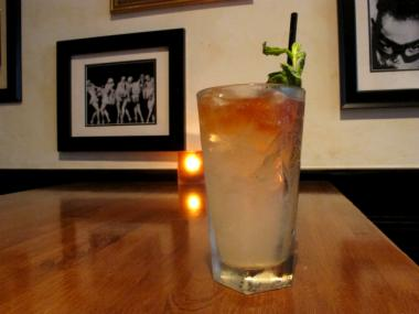 The South Bronx Fizz is a simple mix of Pisco 100, lemon juice, simple syrup and mint.