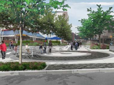"Designs for an upcoming public plaza at Fulton Street and Marcy Avenue in Brooklyn, part of the DOT ""NYC Public Plaza"" program."