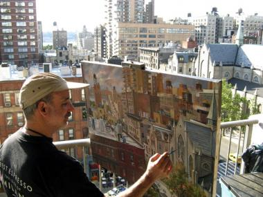 Daniel Hauben paints a cityscape in The Bronx.