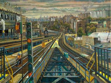 A oil on canvas painting of The Bronx by local artist Daniel Hauben.