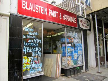 Blaustein Paint & Hardware will move from its longtime Bleecker Street home to a new space on Greenwich Avenue, owner Dimitry Lerner said on May 7, 2012.