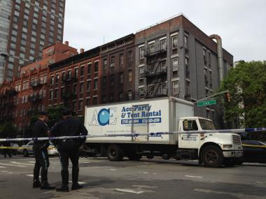 This truck reportedly struck a 65-year-old pedestrian at East 89th Street and First Avenue, police and witnesses said.