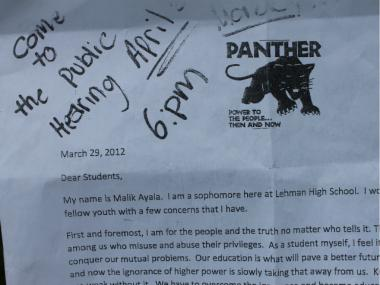 Ayala's letter to students, urging them to band together to save their school, contained the Black Panther Party logo.
