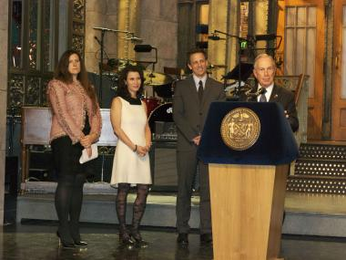Mayor Michael Bloomberg held a press conference on the floor of the