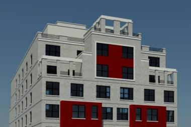 A rendering of a 49-unit development, called La Preciosa, now under construction at 1070 Washington Avenue in Morrisania.