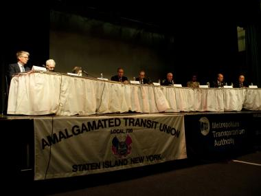 Panelists at the 1st National Transit Workers Assault Conference included representatives from the NYPD, MTA and District Attorneys offices. May 10, 2012.