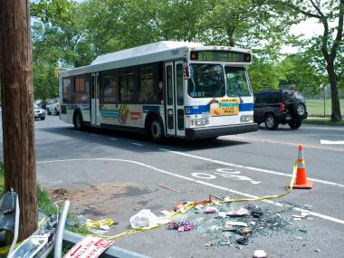A downed sign at a Brooklyn crash at 92nd St. and 7th Ave., on May 13, 2012.
