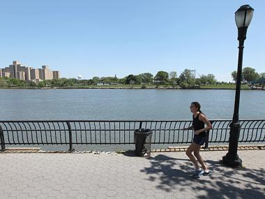 The Harlem River promenade, where Justin Smith, 15, fell to his death in the water on May 12, 2012.