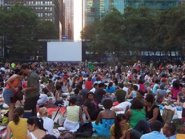 An audience gathers at the Bryant Park Summer Film Festival.