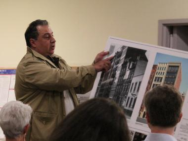 Edward Carroll, an architect working on the proposed nine story building at 27 East 4th Street, presents to Community Board 3.