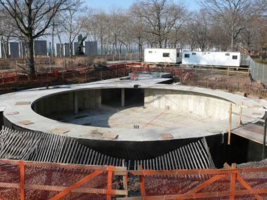 The concrete foundation for the SeaGlass carousel was poured during the winter of 2012.