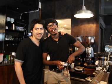 Sweetleaf co-owner Rich Nieto, 39, and his barista Christian Mbassa, 29, stood in the cafe's new location on Kent Avenue and North 6th Street.