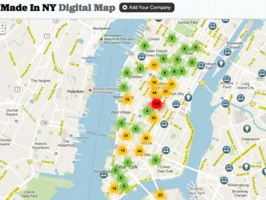 The Made in New York Digital Map, as unveiled by Mayor Michael Bloomberg.