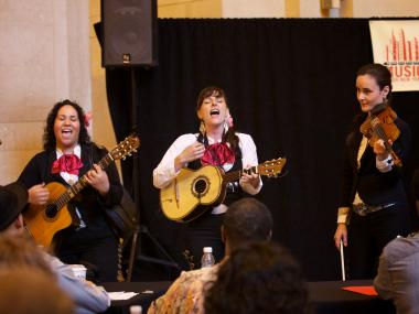 Mariachi Flor de Toloache, an all-female mariachi band, was one of the winners of the MTA's Music Under New York auditions.