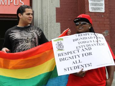 Students from four Bushwick schools spoke outside their shared building for LGBTQ Pride Week.