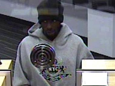 A suspect involved in two Brooklyn bank robberies on April 5, and April 28, 2012.