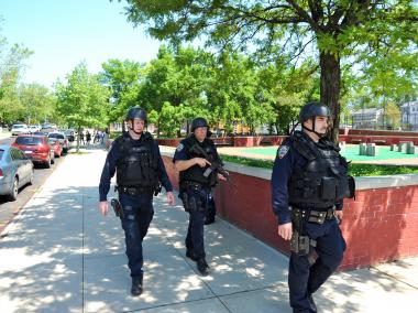 A manhunt for two armed robbers forced the lockdown of P.S. 32 on Staten Island on May 17, 2012.