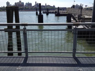The East River by Pier 11 where a woman was plucked from the water Friday.