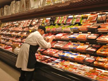 The new Food Emporium on Third Avenue offers a revamped meat section after reconstruction.