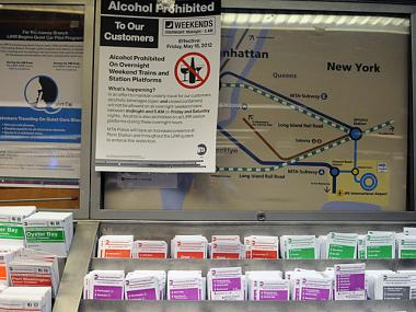 The MTA started posting signs around Penn Station alerting LIRR riders about the weekend night booze ban.