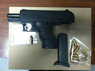A 9mm handgun and ammunition was found at a Brooklyn address, along with 125 lbs. of pot on May 18, 2012.