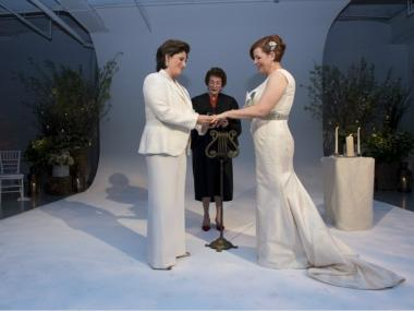 City Council Speaker Christine Quinn and her long-time partner, Kim Catullo, exchanged vows on Sat., May 19, 2012.