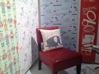 Loboloup's eco-friendly, silk-screened wallpaper on display at the 2012 International Contemporary Furniture Fair.