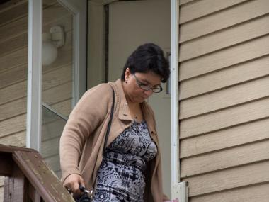 Rosemary Hernandez, wife of Pedro Hernandez, leaving the family's home in Maple Shade, N.J. on May 24, 2012.