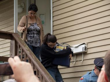Pedro Hernandez's wife and daughter leaving their home in Maple Shade, N.J. on May 24, 2012.