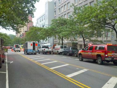 A gas main broke near a Morningside Heights nursing home on May 25, 2012.