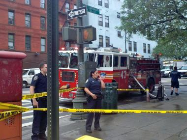 A high pressure gas line broke in front of 120 W. 106th St. on May 25, 2012.