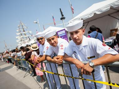 Sailors from the Ecuadorean Navy vessel the