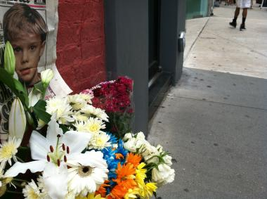 A memorial set up at 448 Broadway, where the former bodega that Pedro Hernandez worked at was. The shrine appeared May 25, 2012.
