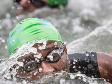 A swimmer takes part in the annual Great Hudson River Swim on May 26th, 2012.