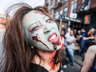A horror fan enjoys the annual Brooklyn Zombie Crawl over the Memorial Day weekend holiday.