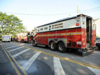 Rescue crews on the scene at Strickland Avenue and National Drive in Mill Basin, Brooklyn, where a man was rescued from the Inlet on Monday May 28th, 2012.