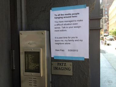 The Patz family posted a sign on the door of their Prince Street home on May 28, 2012 asking for privacy after their son Etan's alleged killer was arrested.