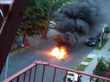Flames shot out of a manhole on East Seventh Street in Midwood on May 29, 2012.
