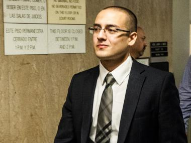 Former NYPD officer Raphael Ospina appears in Manhattan Supreme Court on May 30th, 2012.
