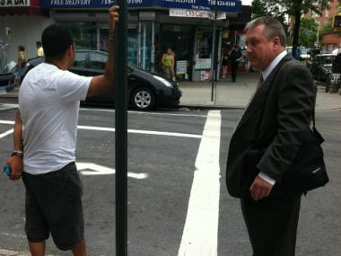 Councilman Daniel Dromm was assaulted by an angry truck driver, seen here, who was double-parked while making deliveries to Trade Fair supermarket in Jackson Heights on Wednesday, officials said.