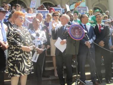 Councilman Jimmy Van Bramer, chairman of the  Council's Cultural Affairs and Libraries Committee, led the rally on Thurs., May 31, 2012.